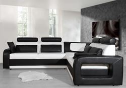 Attēls Moderni ādas stūra dīvāni